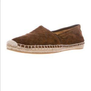 Gucci GG Monogram Suede Espadrille Flat Shoes